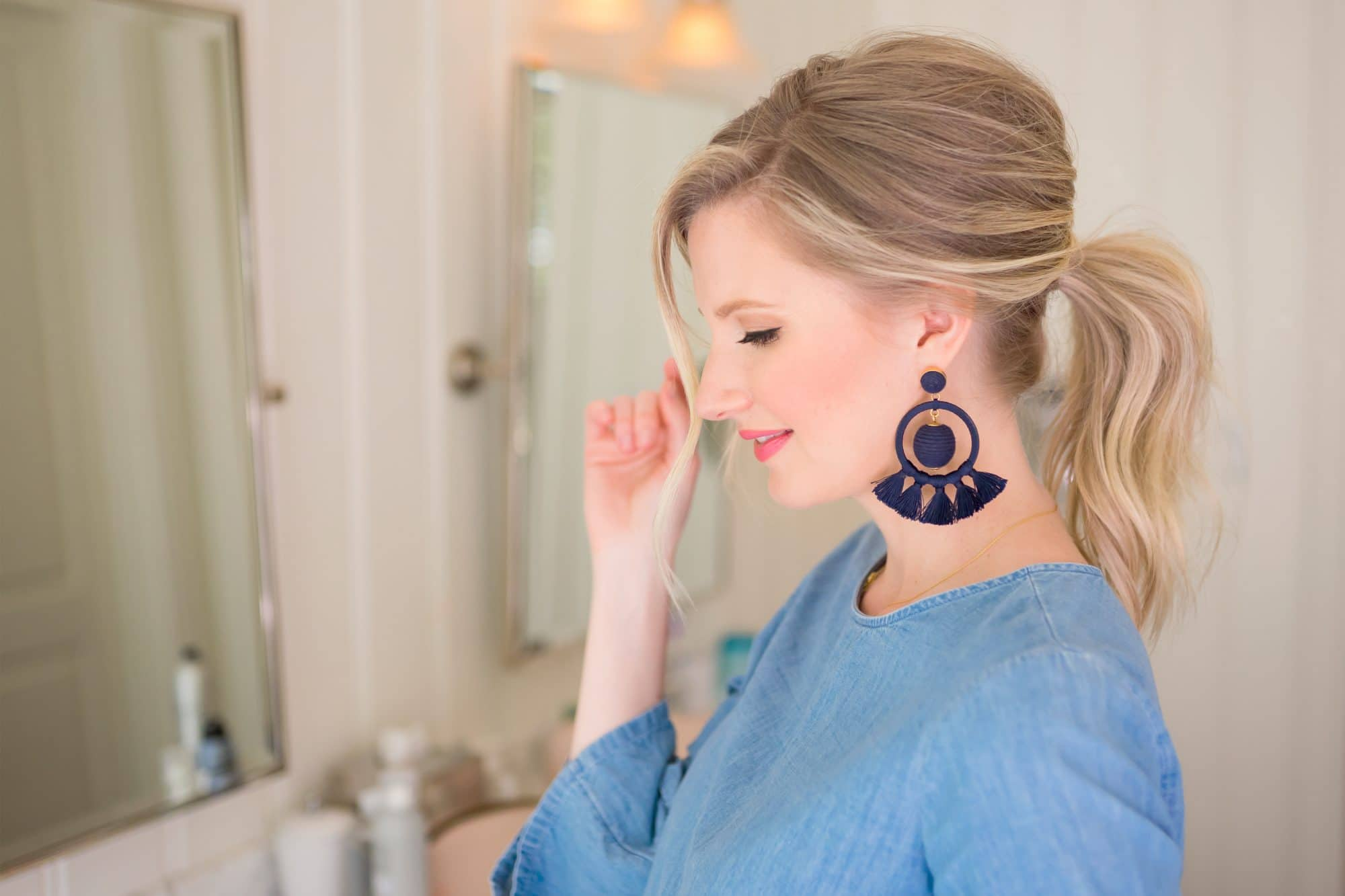 Easy Volumized Ponytail Tutorial with Kate from The Small Things Blog | www.ashleybrookedesigns.com
