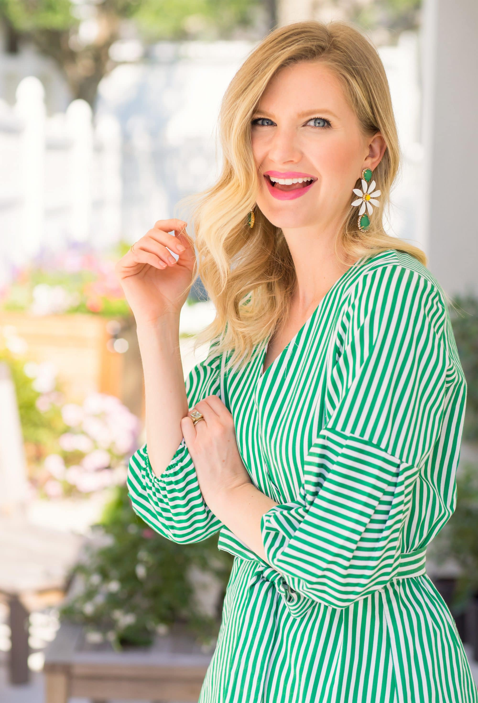 Daisy Statement Earrings and Green Gingham Dress | www.ashleybrookedesigns.com