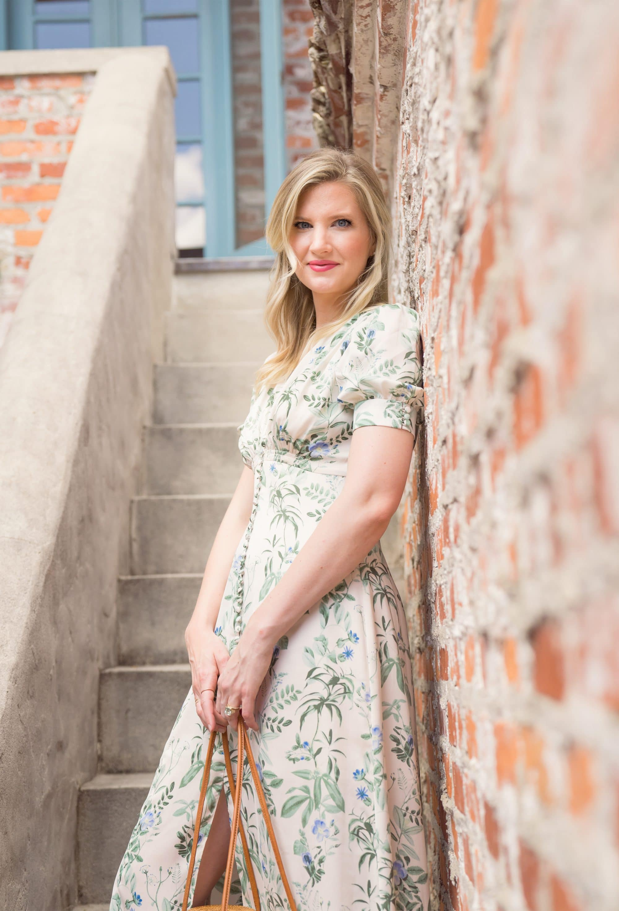 Lauren Botanical Garden Print Midi Dress | www.ashleybrookedesigns.com