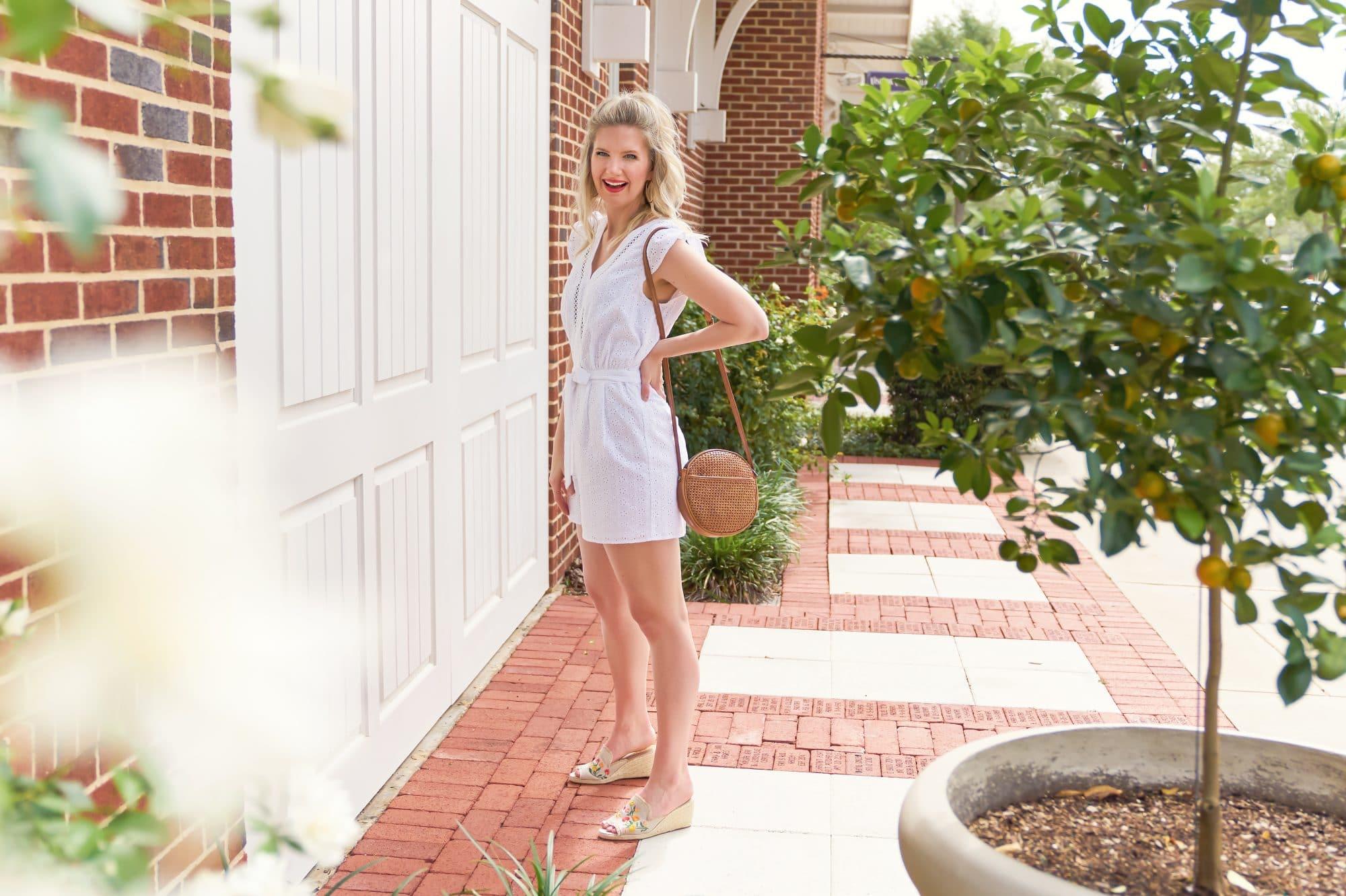 White Eyelet Romper Under $150 | www.ashleybrookedesigns.com