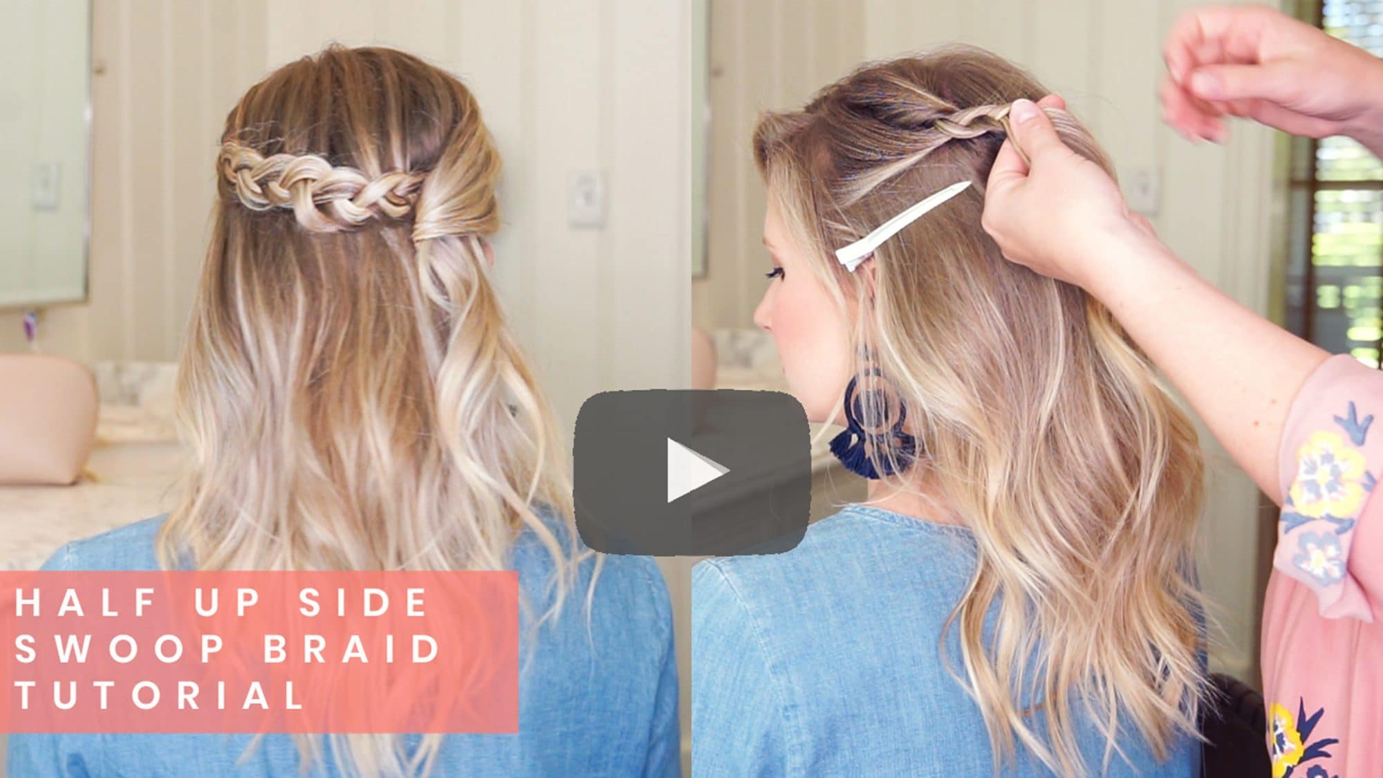 Half Up Side Swoop Braid Tutorial wiht Kate from Small Things Blog | www.ashleybrookedesigns.com