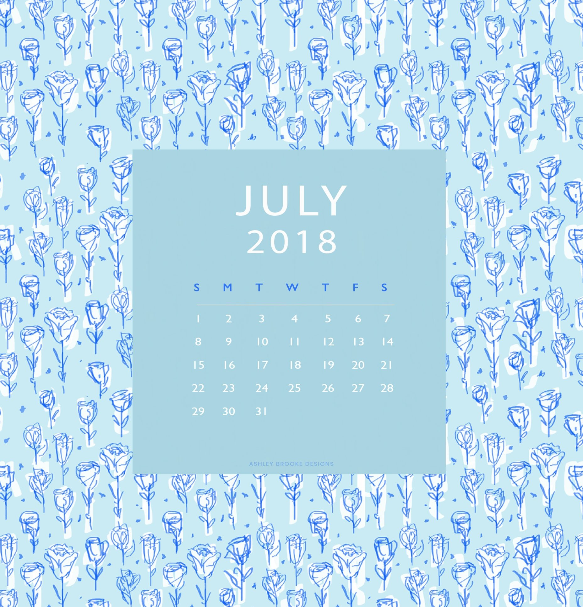 Free Calendar Download July 2018   www.ashleybrookedesigns.com