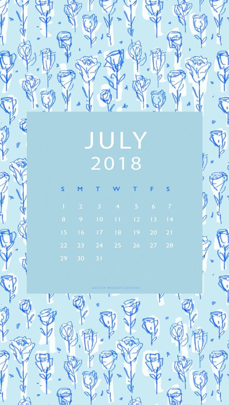 Free Calendar Download July 2018 | www.ashleybrookedesigns.com