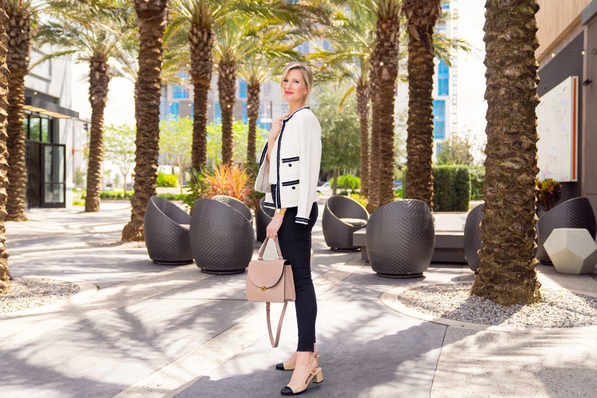 Cream and Black Tweed Chanel Jacket Look | www.ashleybrookedesigns.com