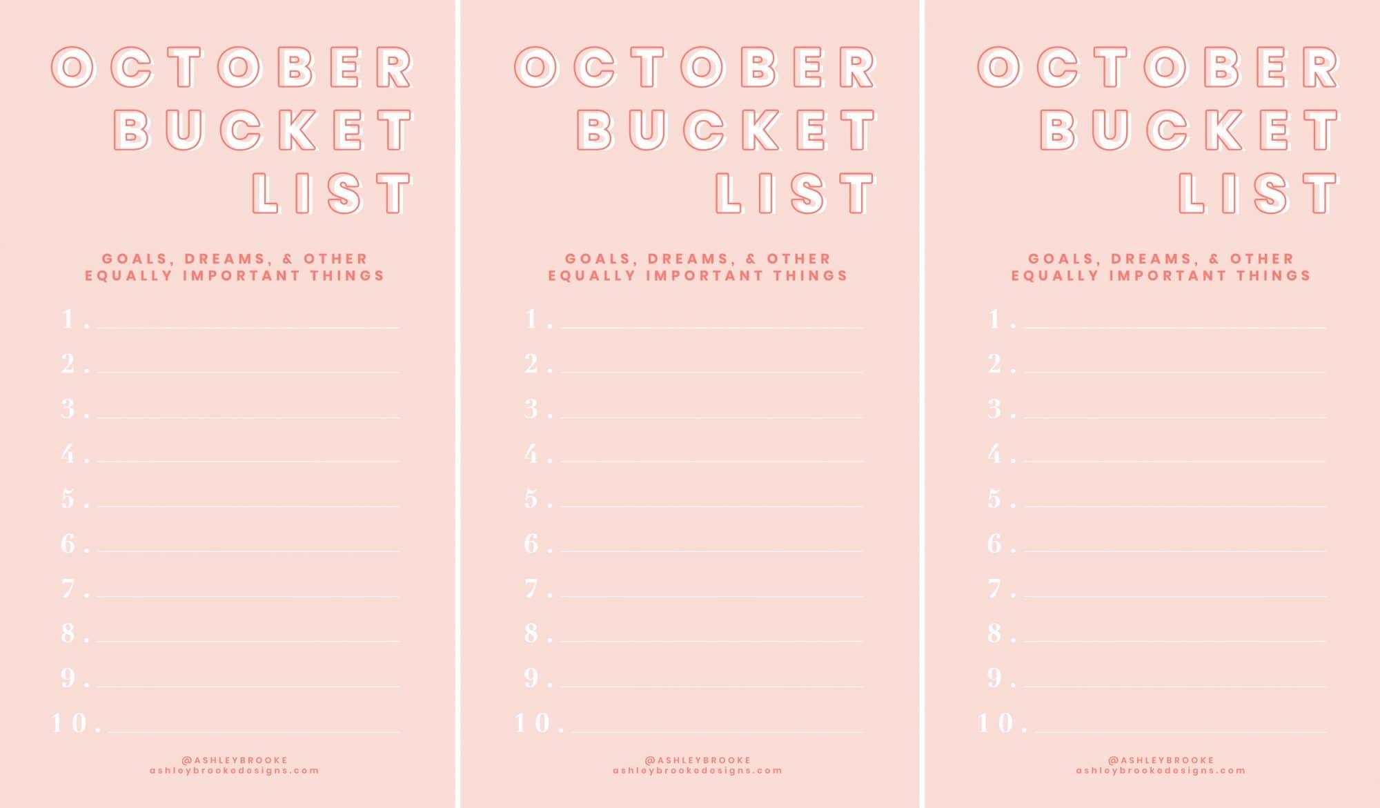 Ashley Brooke - Printable Image - October Bucket List Download