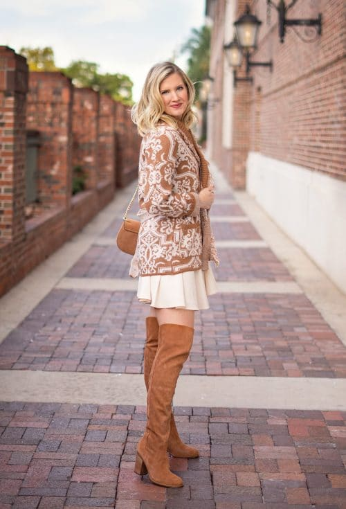 Knee high boots, GMG Dress, Anthropologie sweater outfit by Ashley Brooke