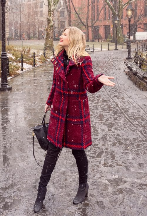 Ashley Brooke in Red Winter Coat in NYC on www.ashleybrookedesigns.com