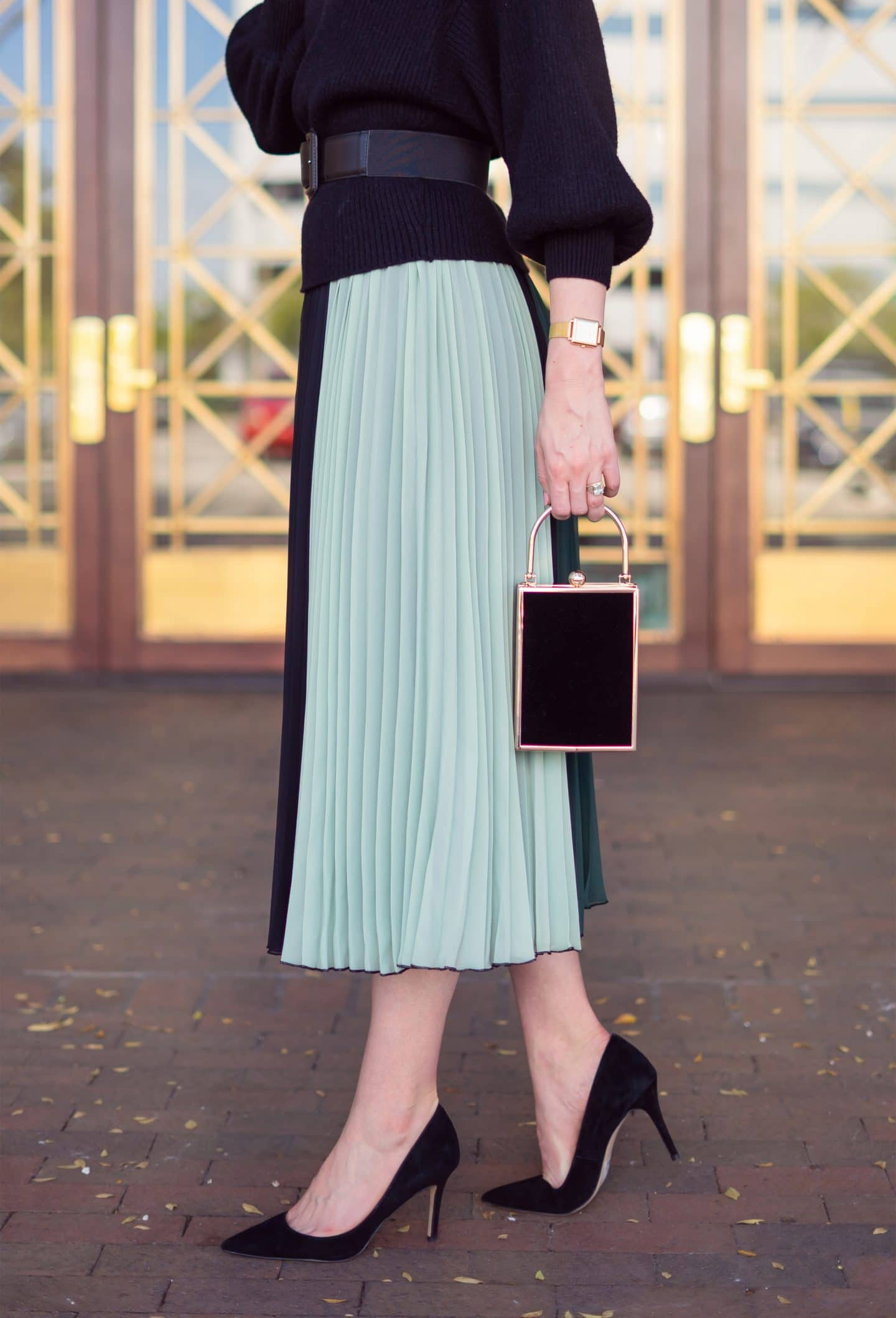Ashley Brooke @ashleybrooke in Atlantic Pacific Colorblock Pleat Dress with Black Sweater