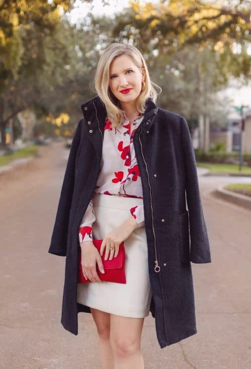 Holiday style outfit - red bag and white skirt - Ashley Brooke