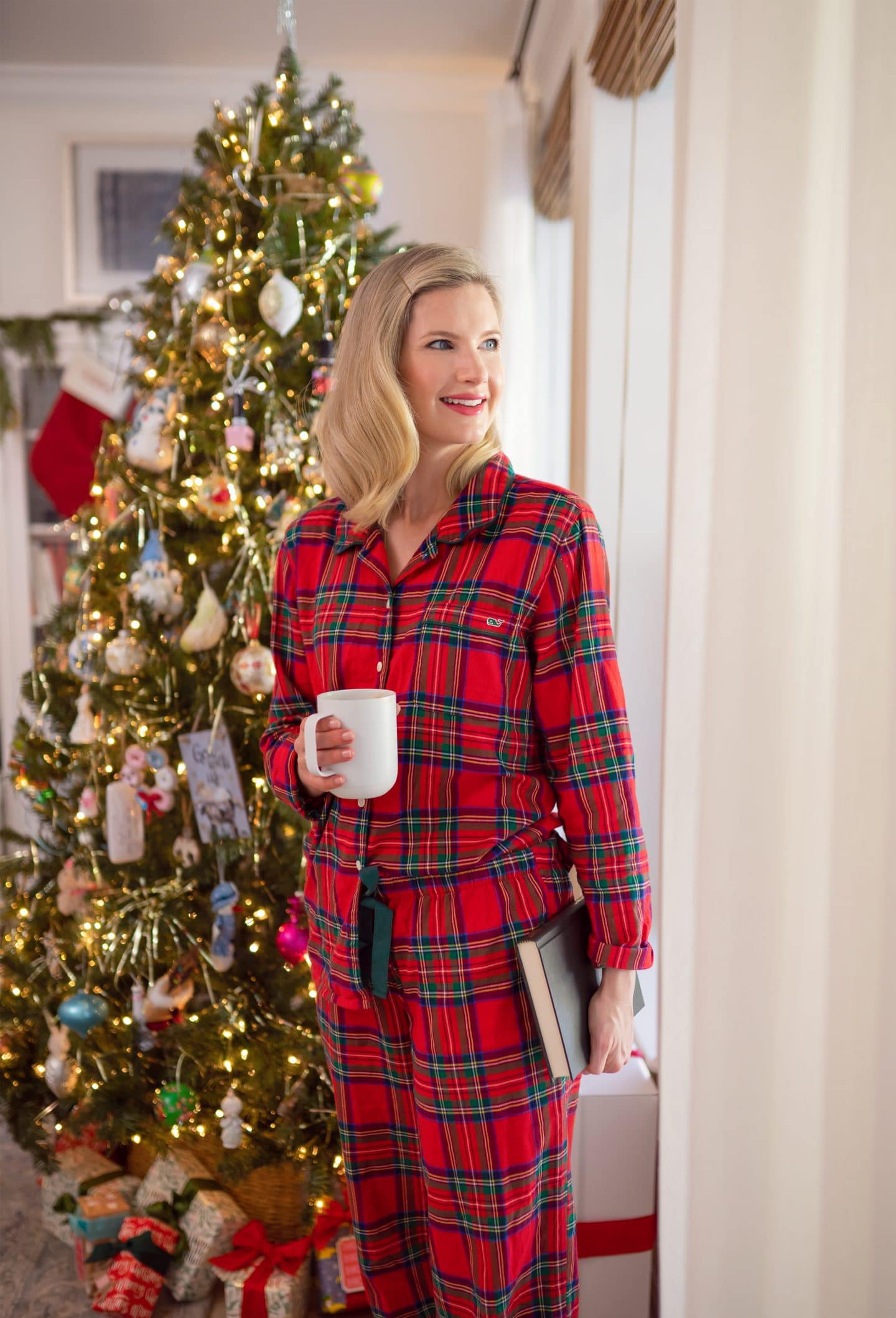 Plaid Pajamas worn by Ashley Brooke on www.Ashleybrookedesigns.com