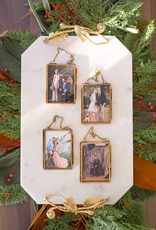 gold picture frame ornaments | www.ashleybrookedesigns.com