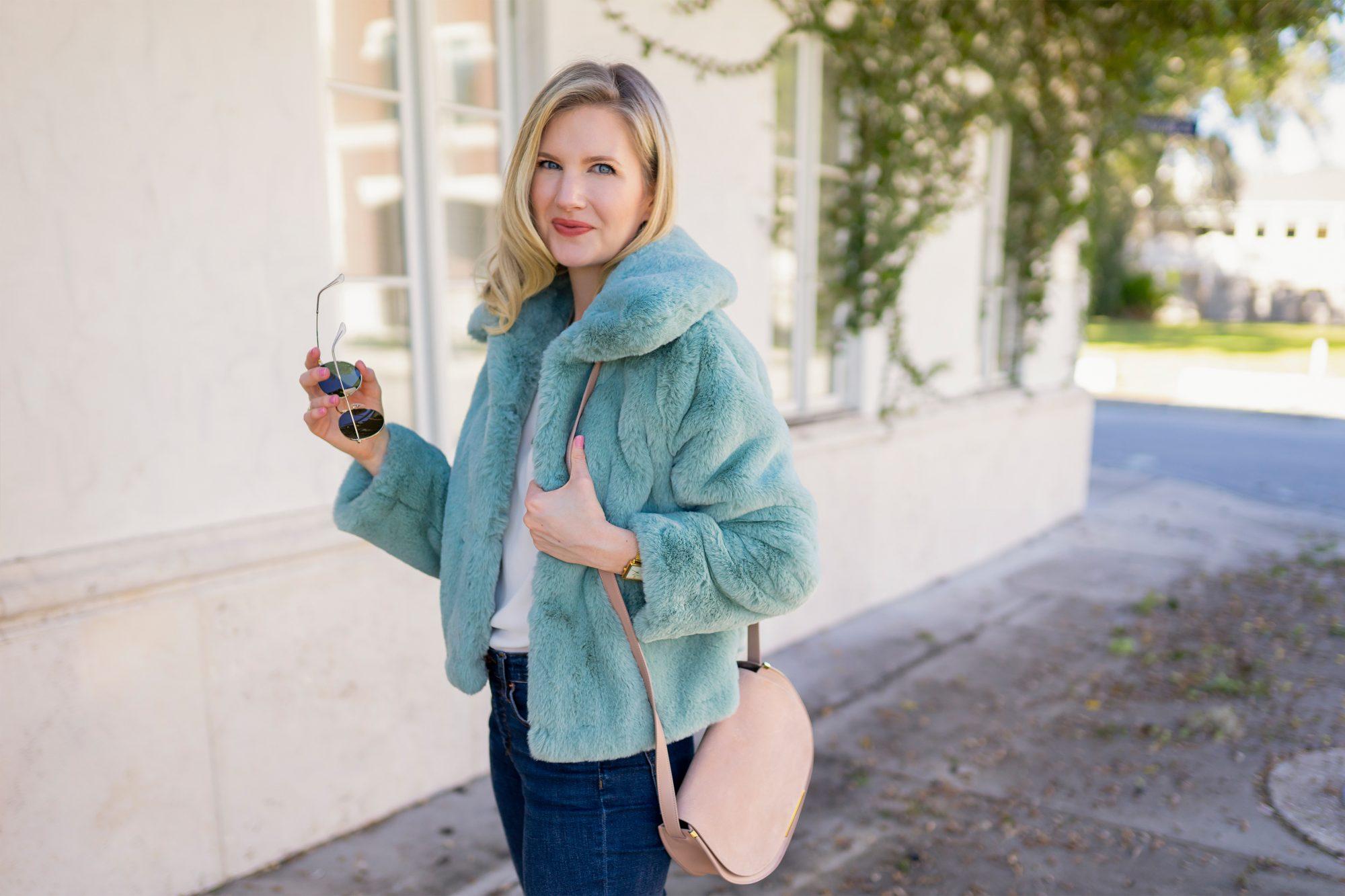 Ashley Brooke in Faux Fur Jacket TOP SHOP Faux Fur Jacket