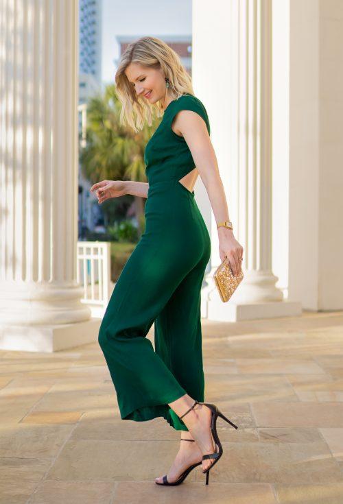 Ashley Brooke in Reformation Green Jumpsuit - @ashleybrooke