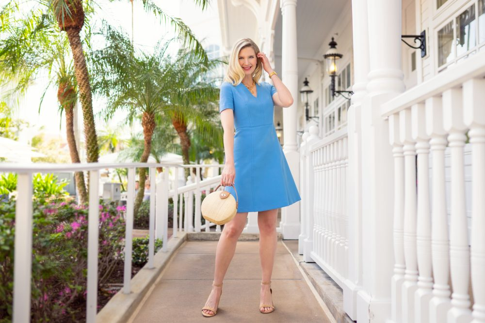 Ashley Brooke in Blue Dress from Halsbrook on www.ashleybrookedesigns.com