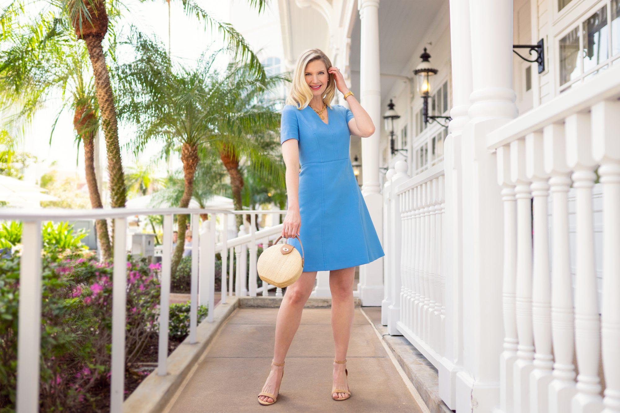 Ashley Brooke in Blue Dress from Halsbrook on www.ashleybrookedesigns.com