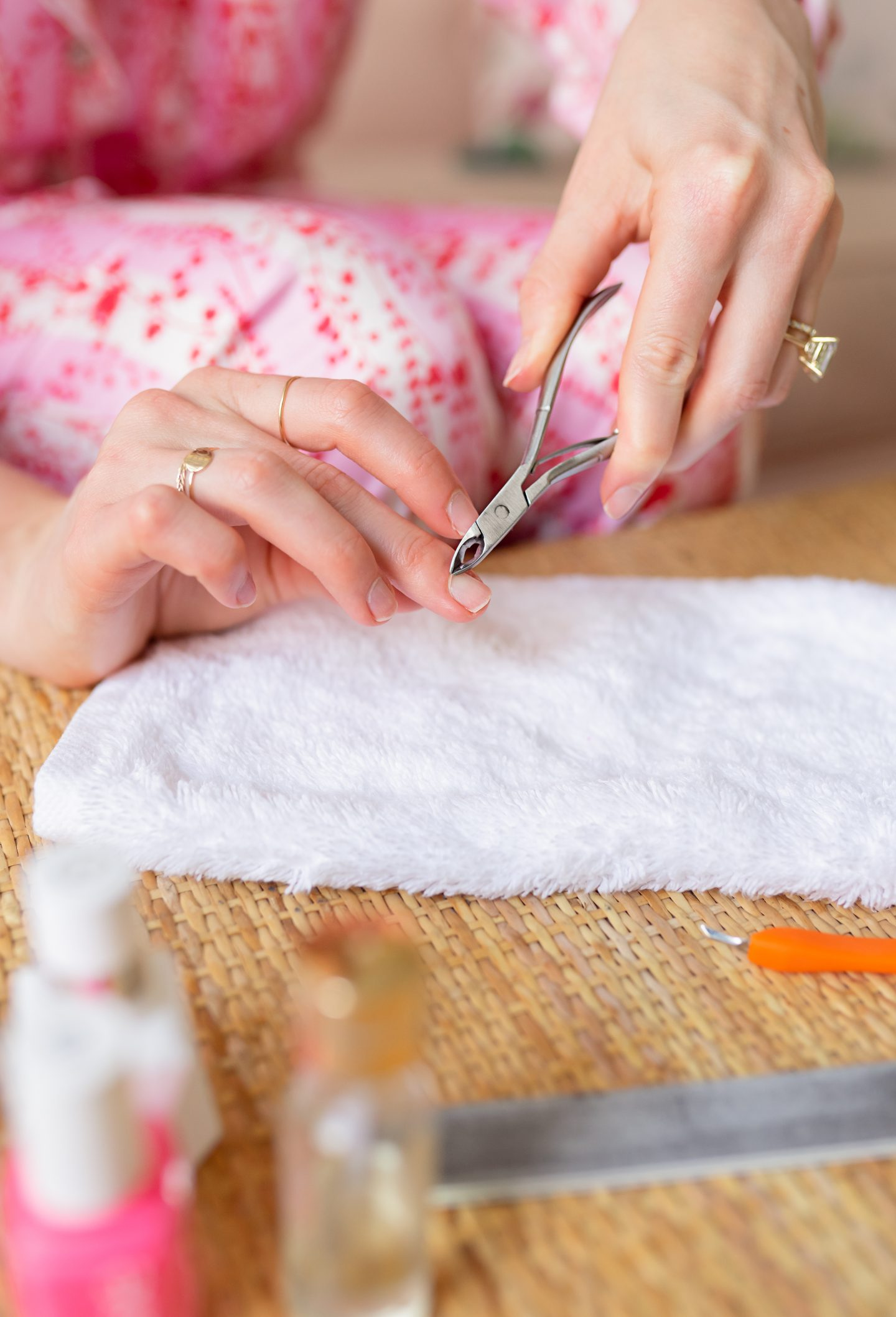 Ashley Brooke trimming cuticles and for DIY manicure