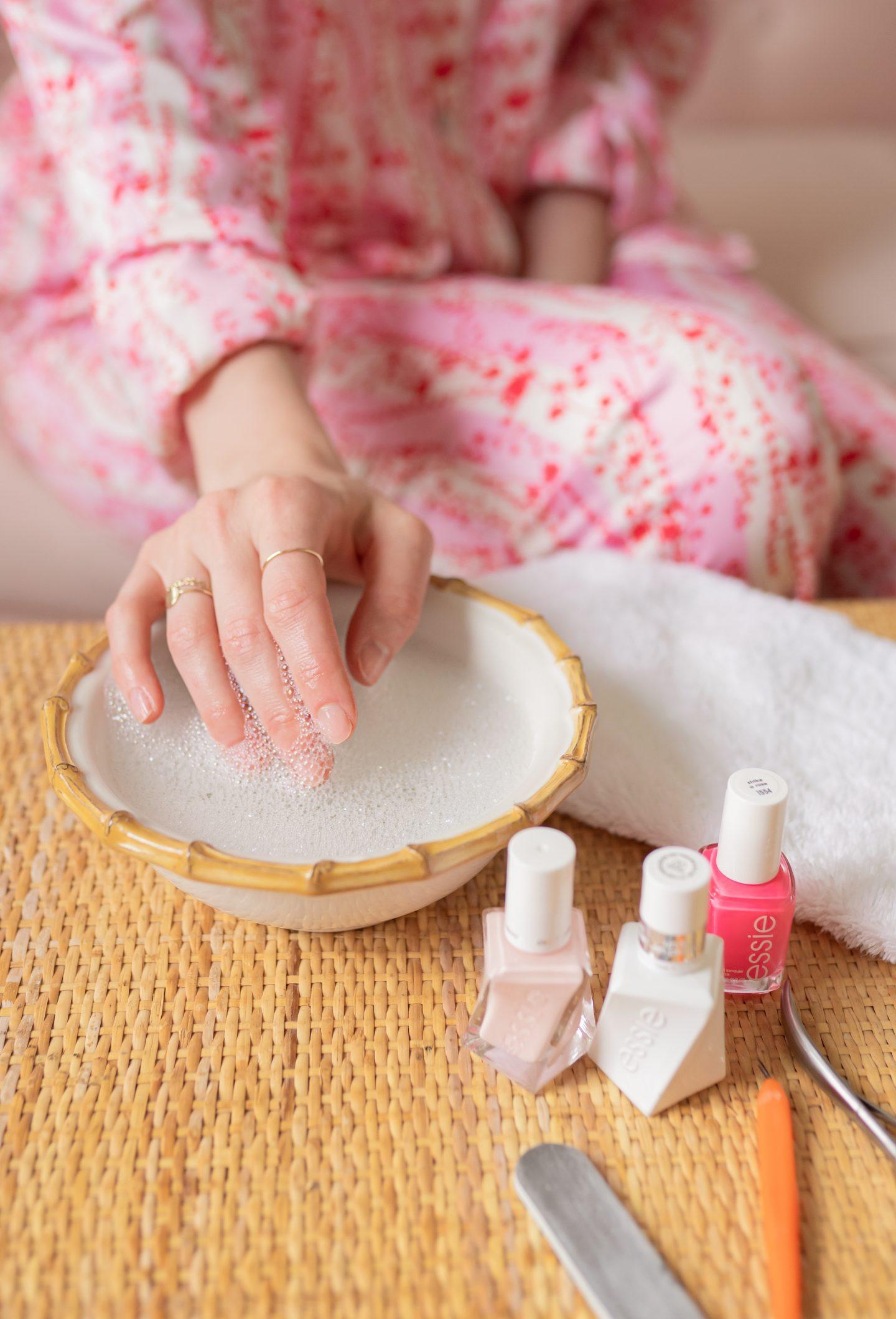 Ashley Brooke soaking nails and cuticles for DIY manicure
