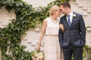 Ashley Brooke and husband Ryan Chambers on their wedding day at Oxford Exchange