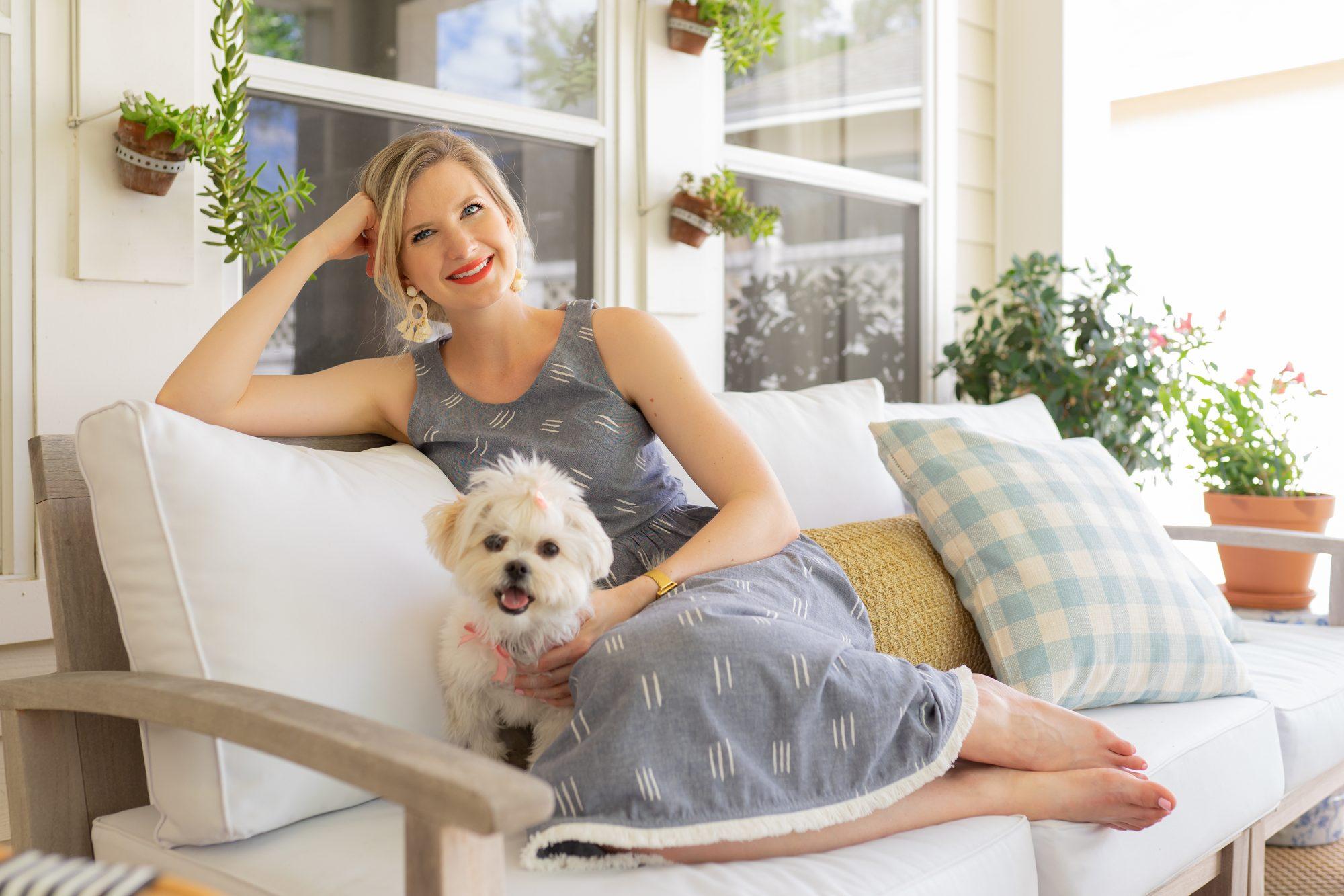 Ashley Brooke wearing Lilla P Button Back Dress on www.ashleybrookedesigns.com