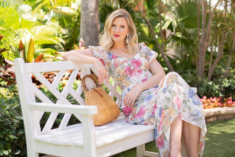 Ashley Brooke on Floral Midi Dresses on www.ashleybrookedesigns.com