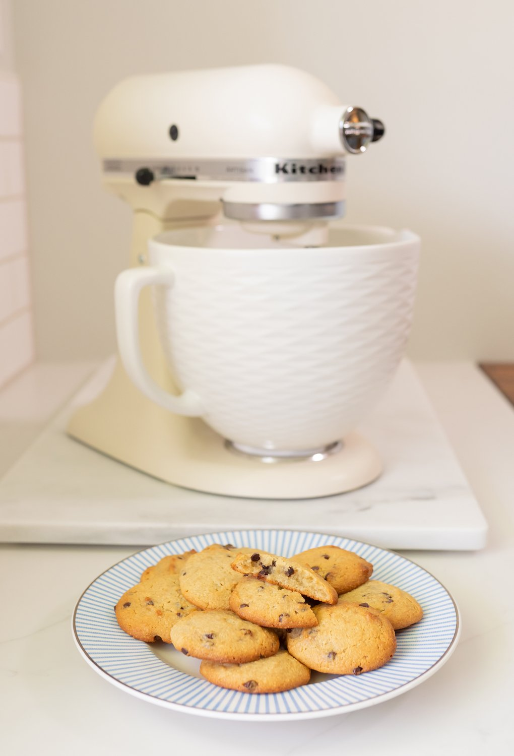 Paleo chocolate chip cookies with KitchenAid mixer