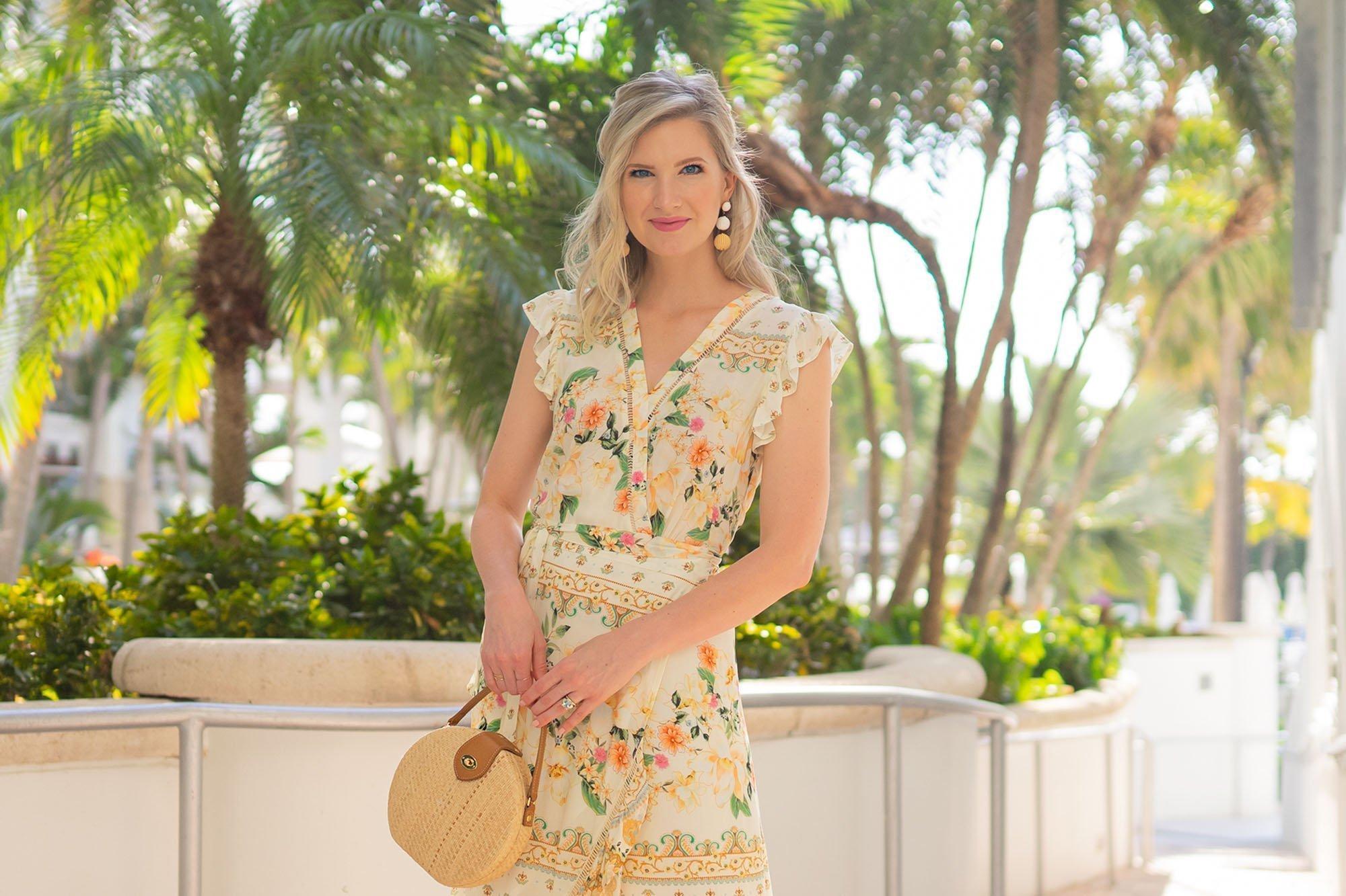 Ashley Brooke wearing Farm Rio Floral Dress on South Beach