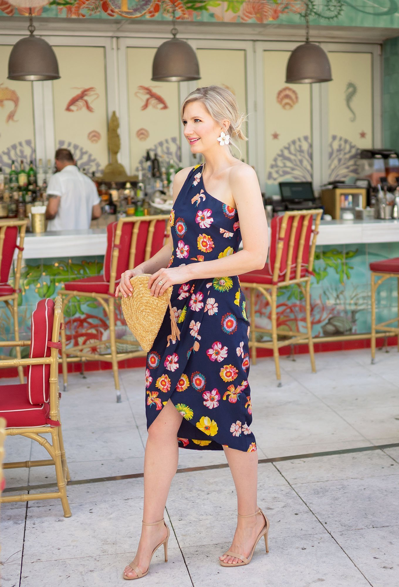 Ashley Brooke wearing Floral One Shoulder Dress in Miami