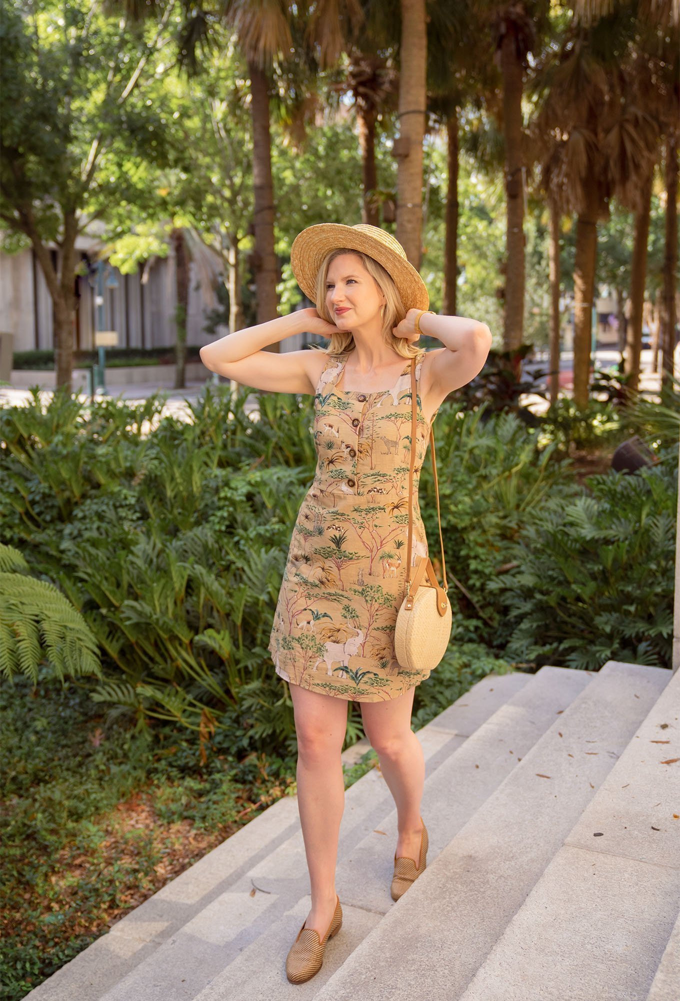 Ashley Brooke styles Stubbs & Wootton with animal print dress and straw hat.