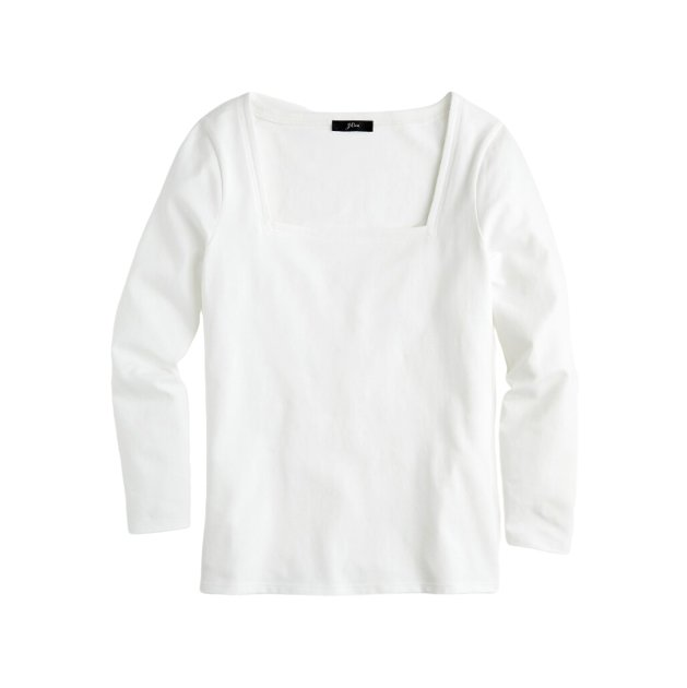 Square Neck Fitted White T-shirt