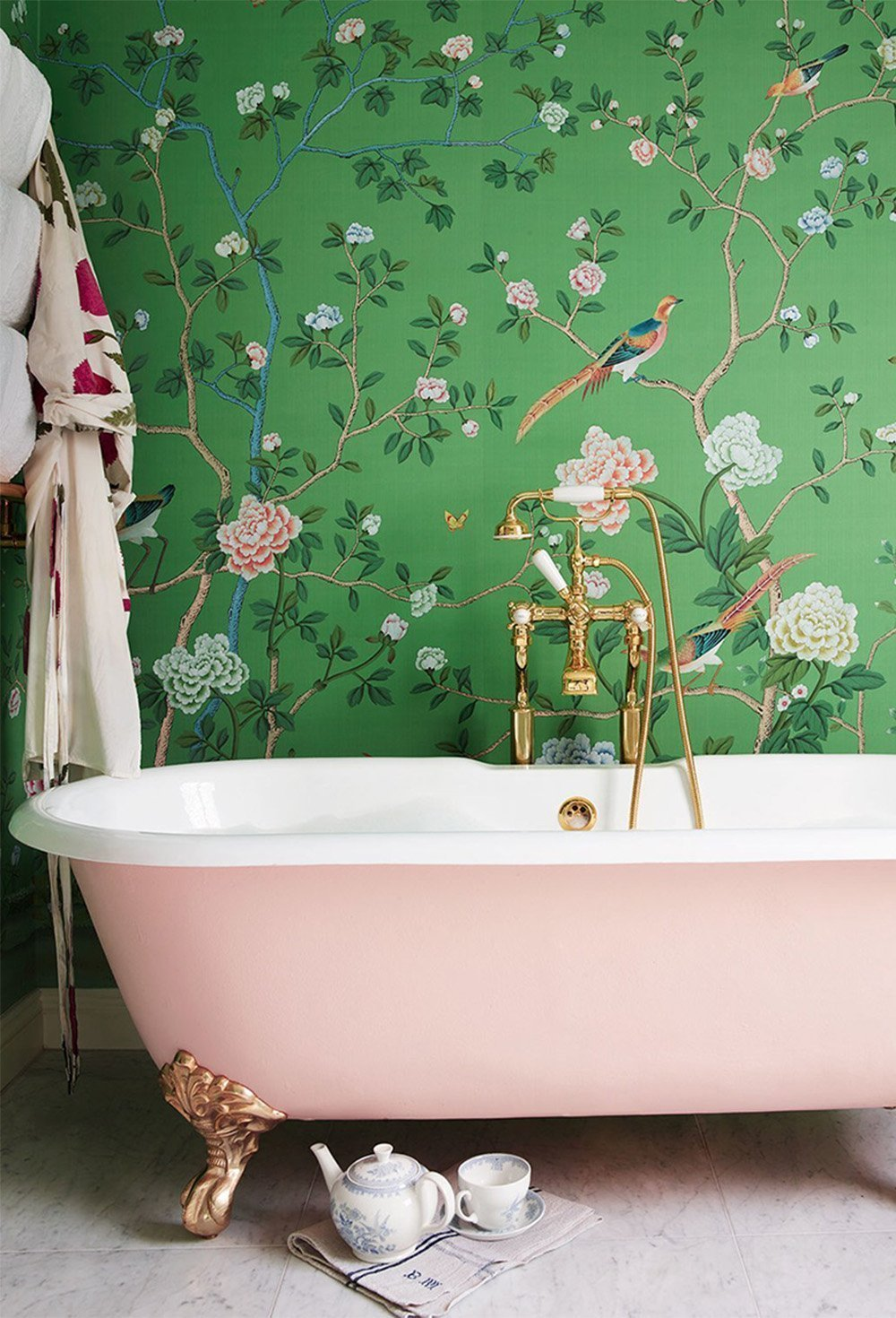 Pink Bathtub and green wallpaper on Ashley Brooke Designs
