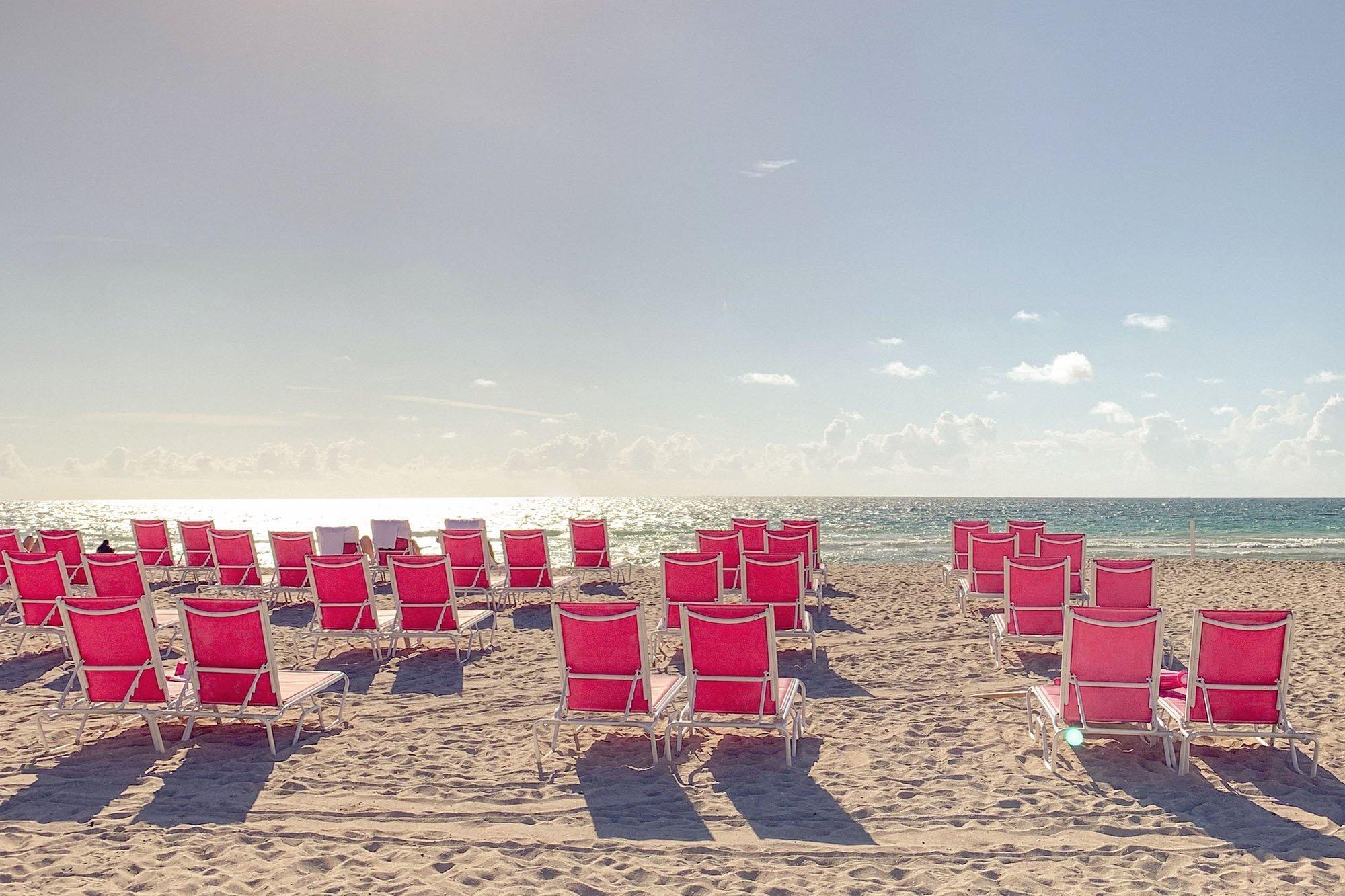 Pink Beach Chairs in South Beach Miami - Ashley Brooke Designs