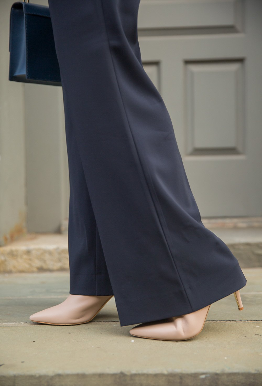 Wide Leg Pants and Marion Parke Mules worn by blogger Ashley Brooke