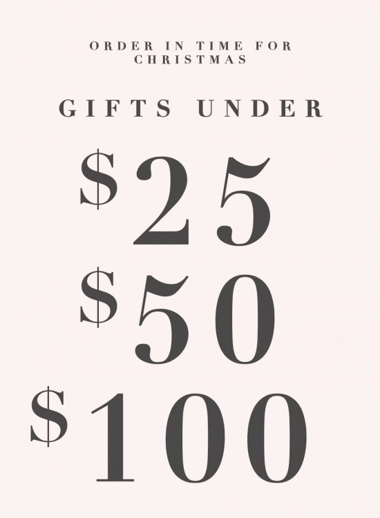 Last minute gifts under $25, $50, and $100 by Ashley Brooke