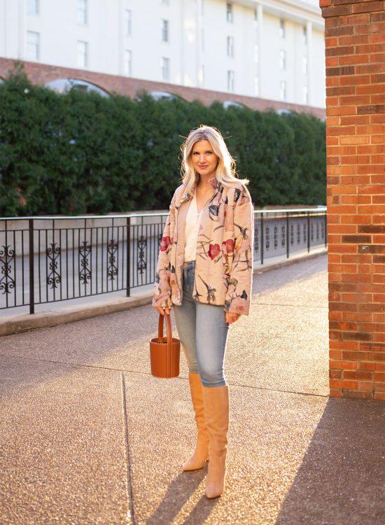 Ashley Brooke wearing faux fur floral jacket