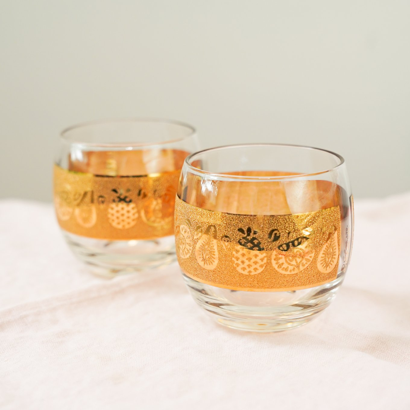 Gold cocktail glasses - Vintage China - owned by Ashley Brooke