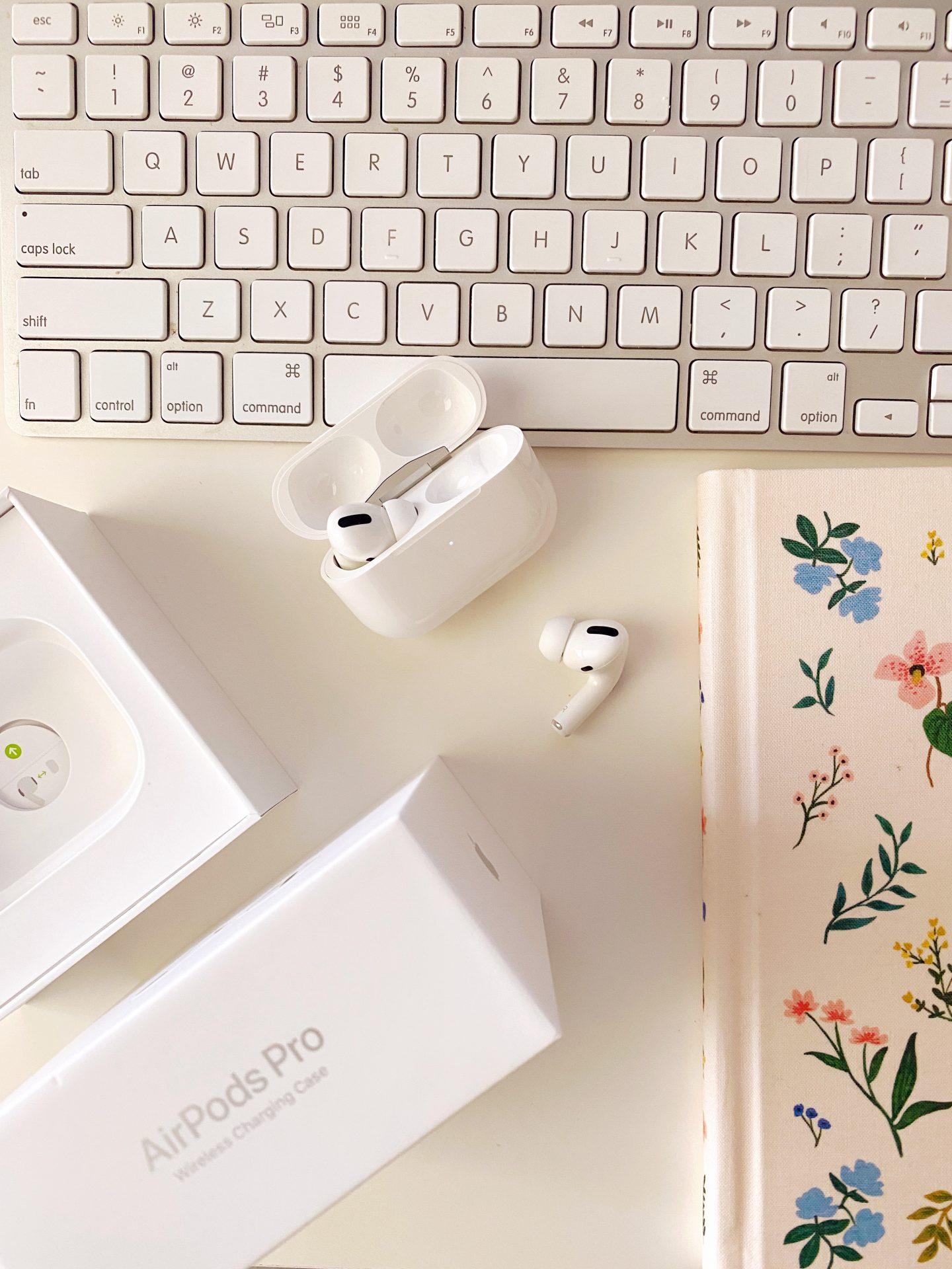 Apple AirPods Pro on Ashley Brooke's desk