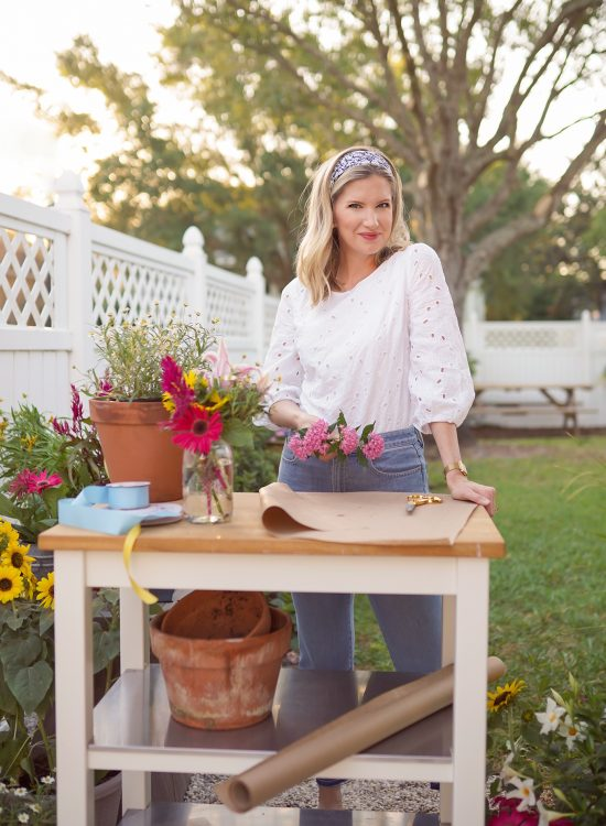 Ashley Brooke Making DIY flower bouquet in her back yard