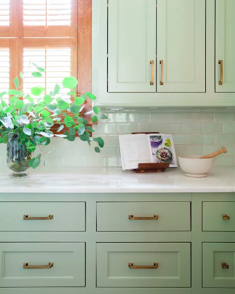 Green kitchen inspiration - photo credit to Sarah Stacey Designs
