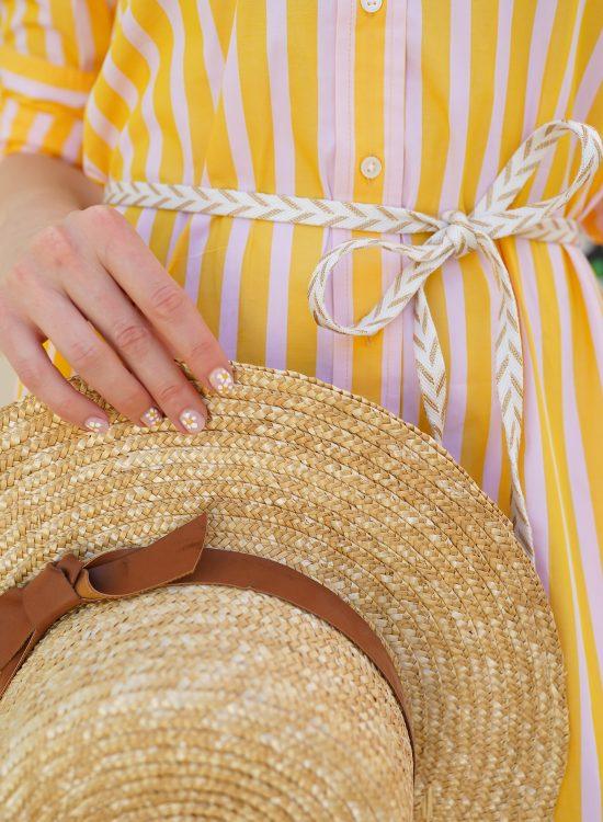 Ashley Brooke in Yellow Striped Dress
