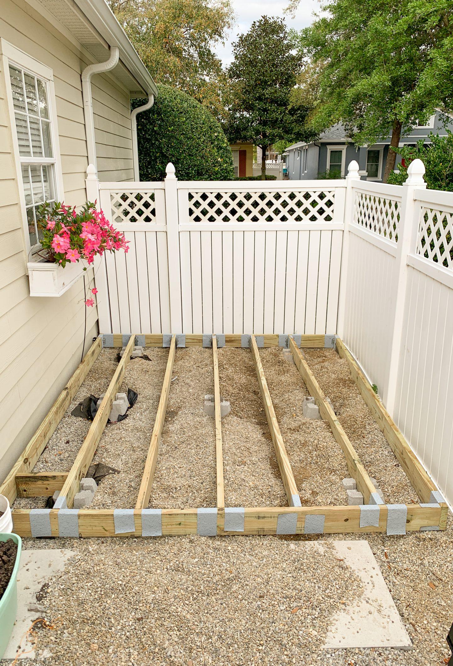 Wood Deck frame and deck blocks - DIY wood deck