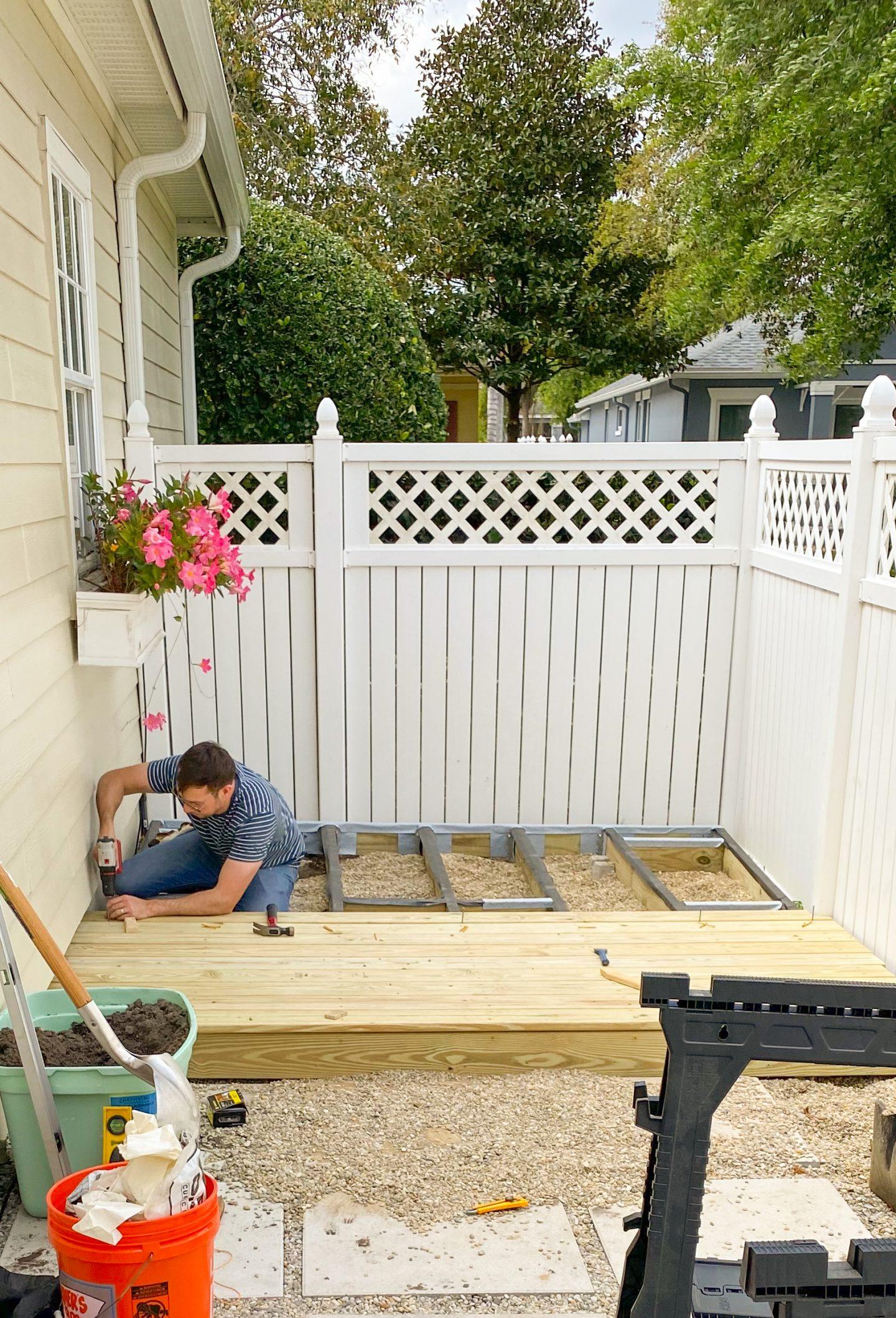 Installing deck boards on DIY wood Deck
