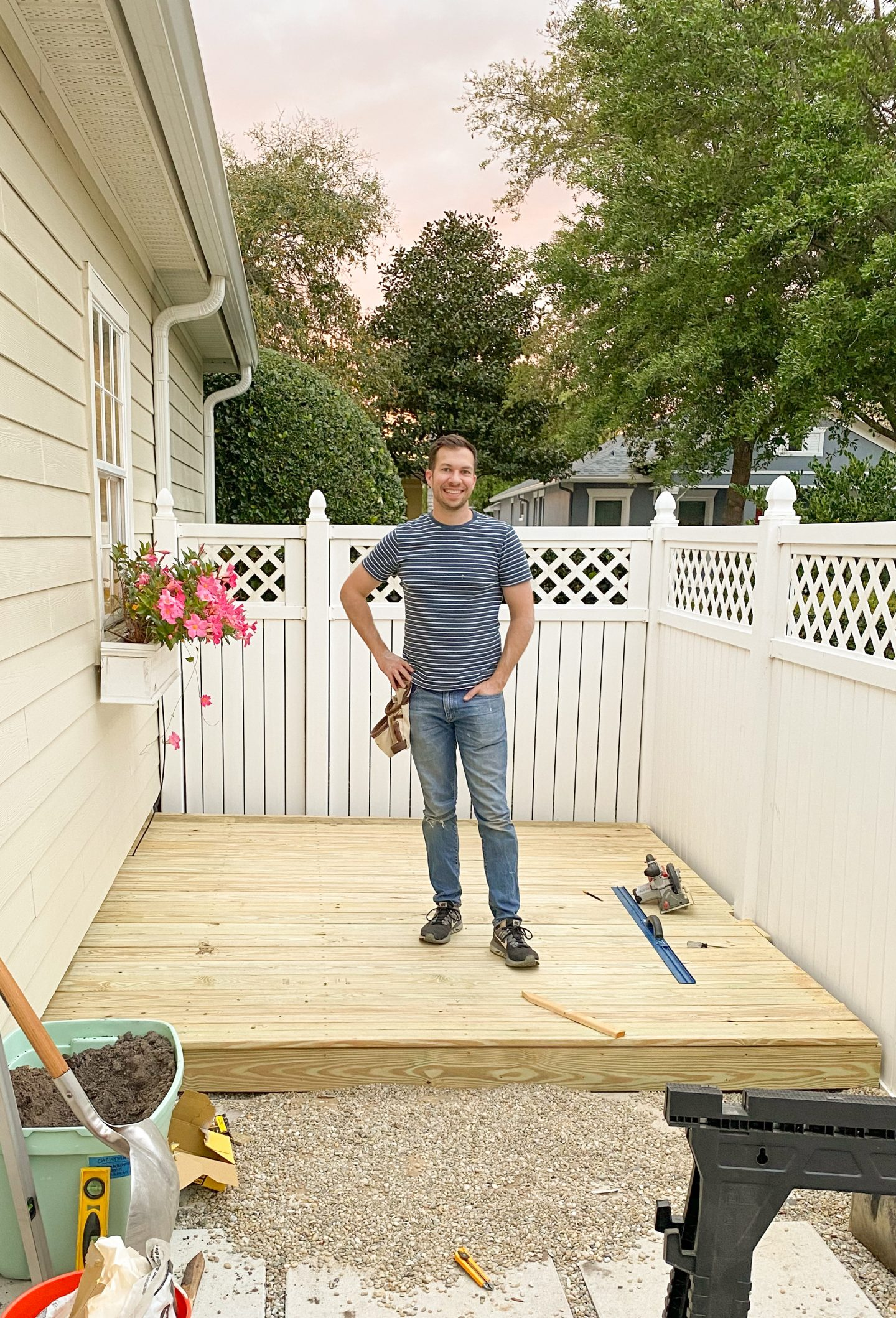 Ryan with completed DIY Deck on Ashley Brooke Designs