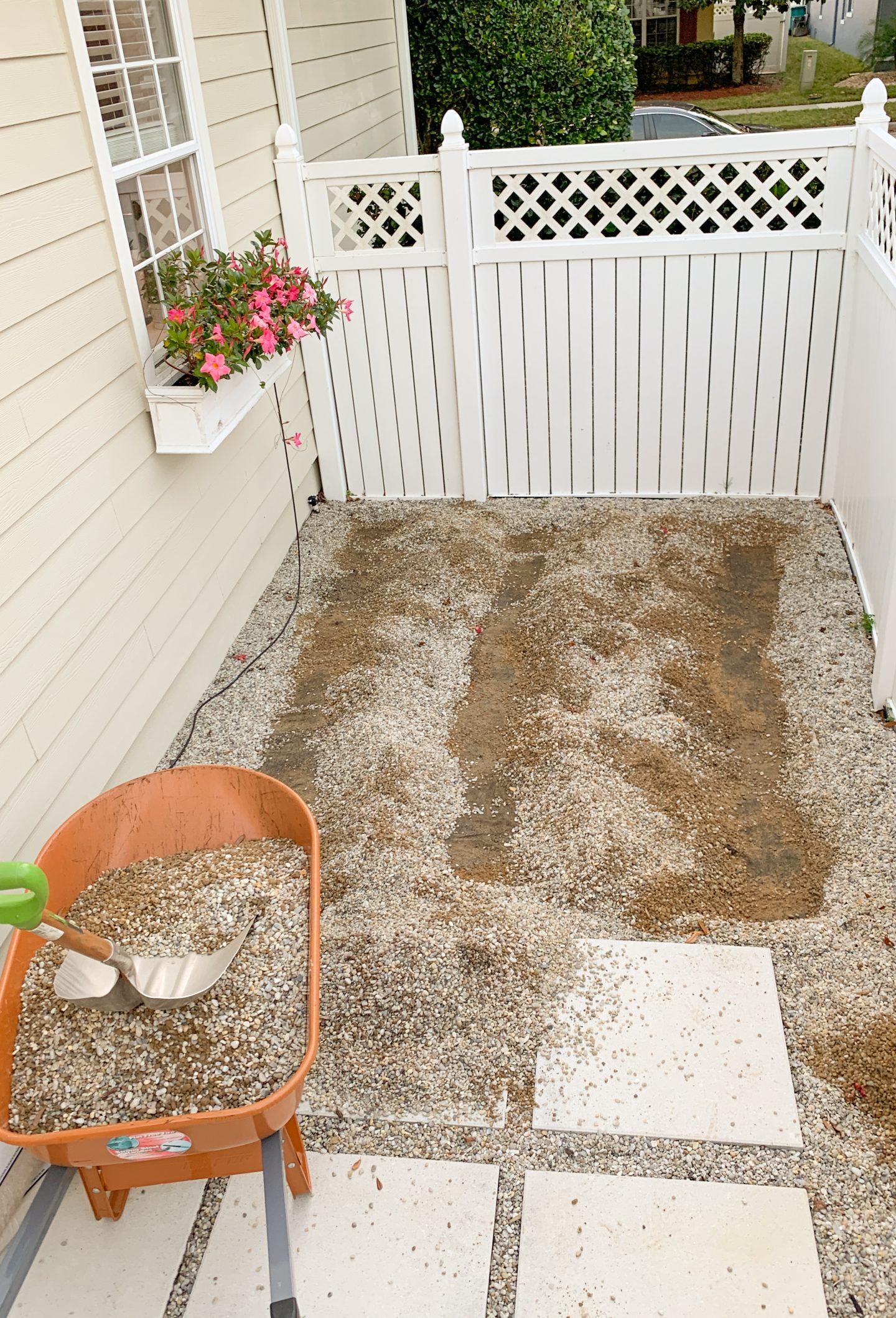 digging area for DIY wood deck