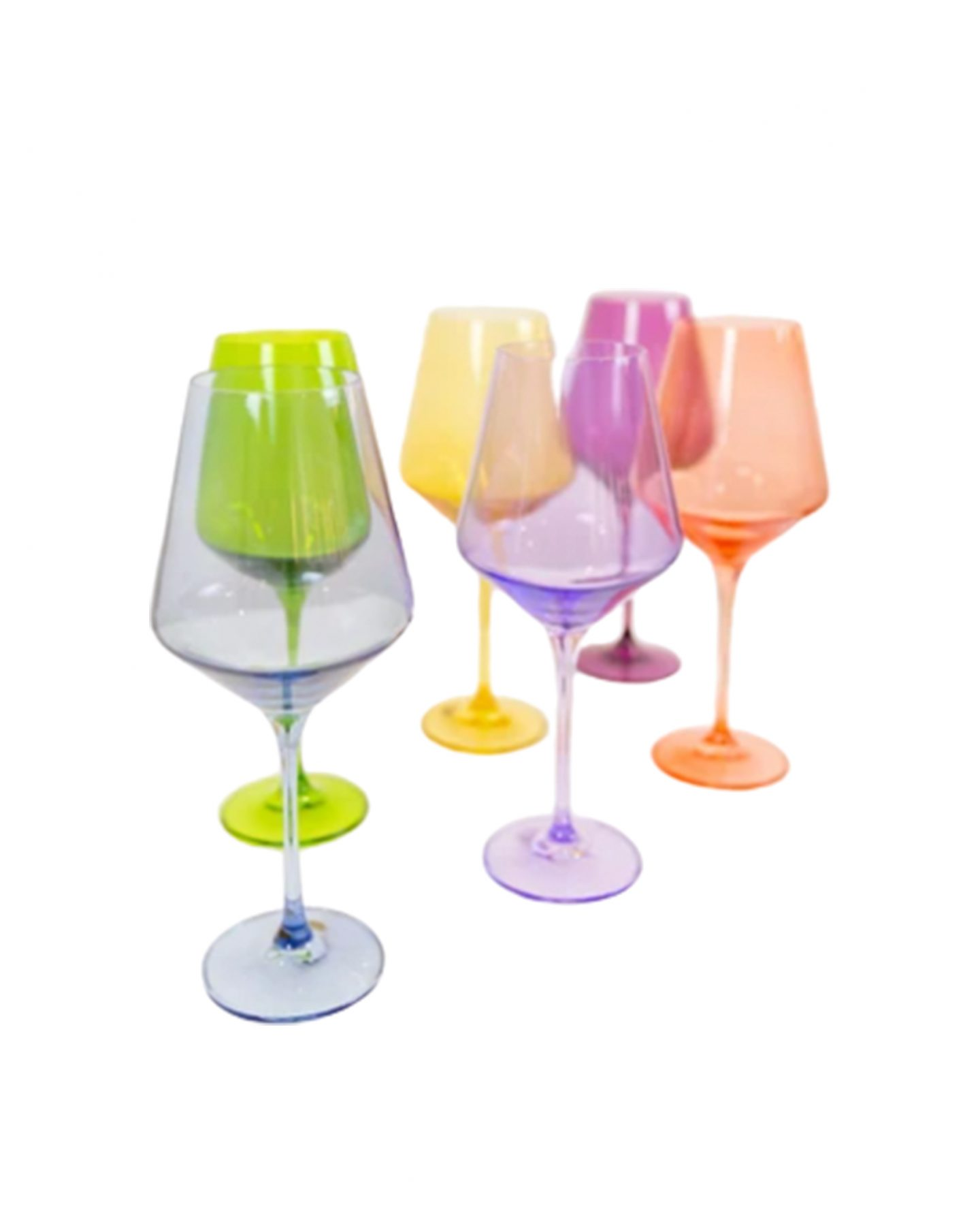 Estelle blown glass colored wine glasses
