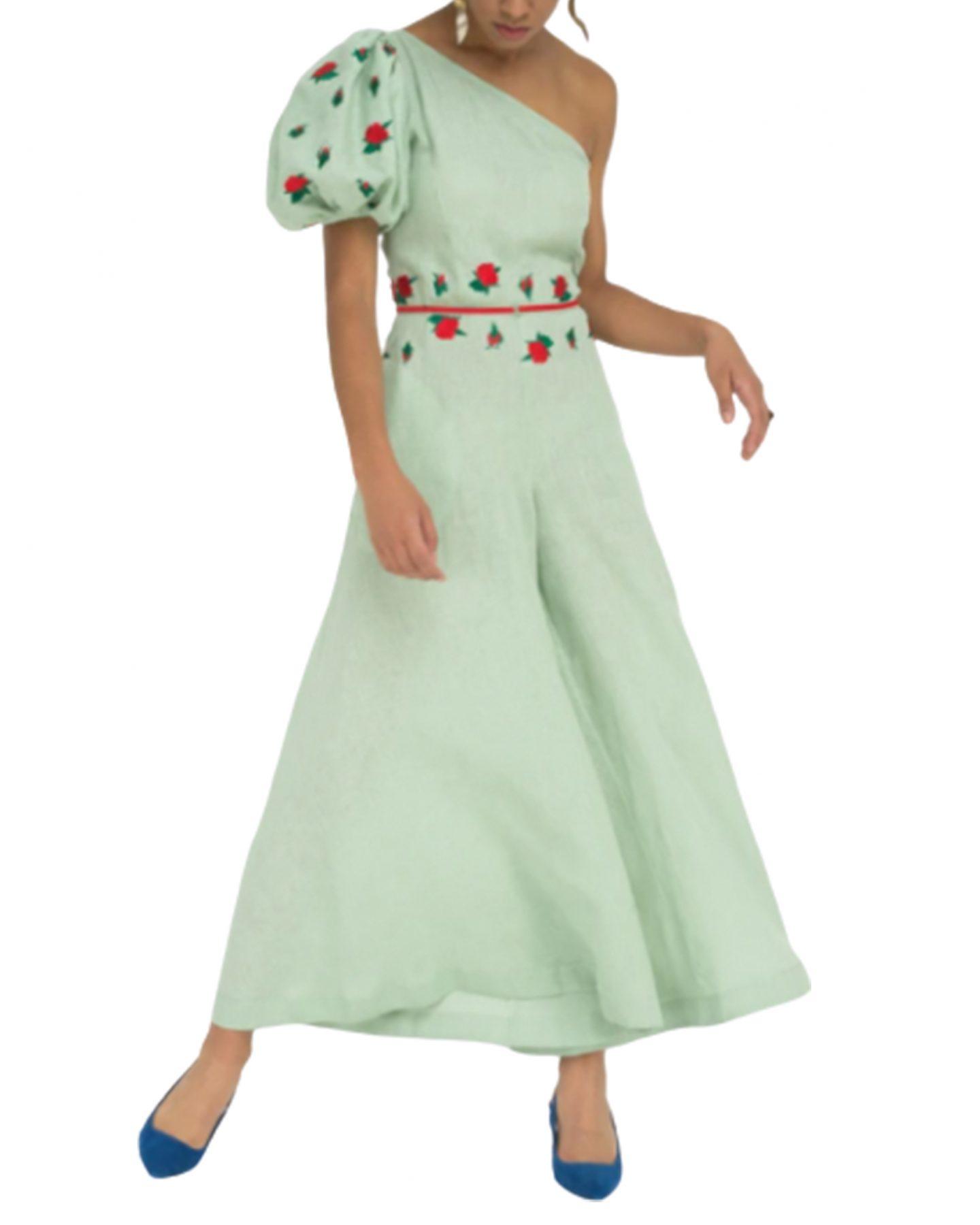 Fanm Mon green linen jumpsuit