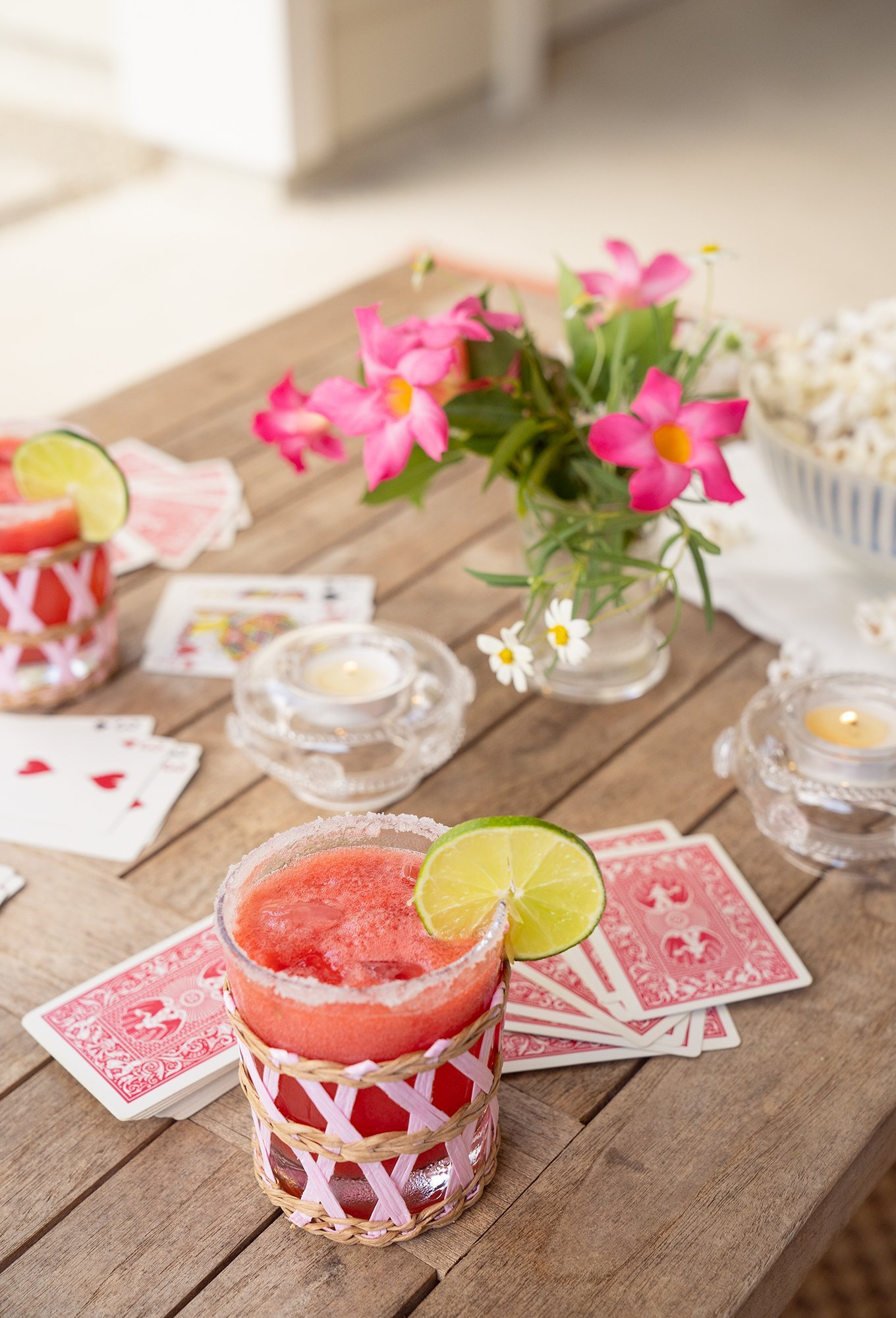 Ashley Brooke's watermelon margarita recipe with Lindroth Designs cup.