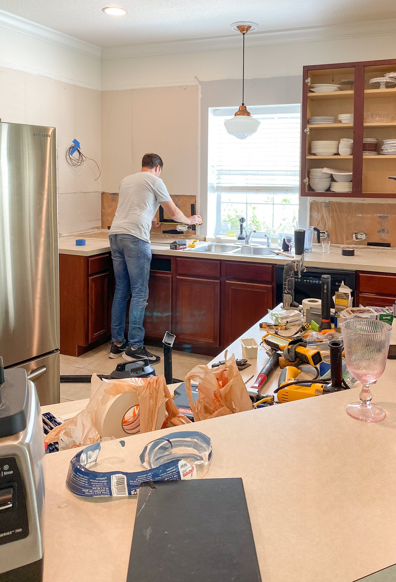 Ashley Brooke's Green Kitchen renovation - tearing out the backsplash