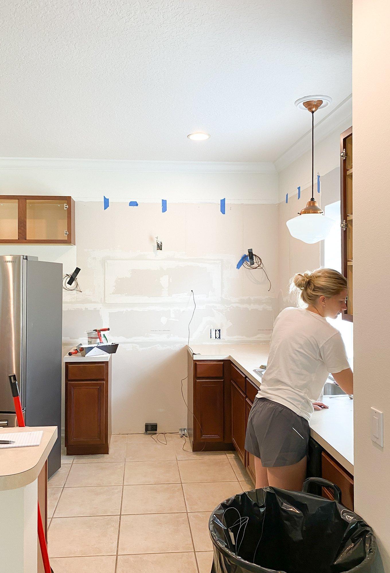 Ashley Brooke's Green Kitchen renovation - replacing drywall