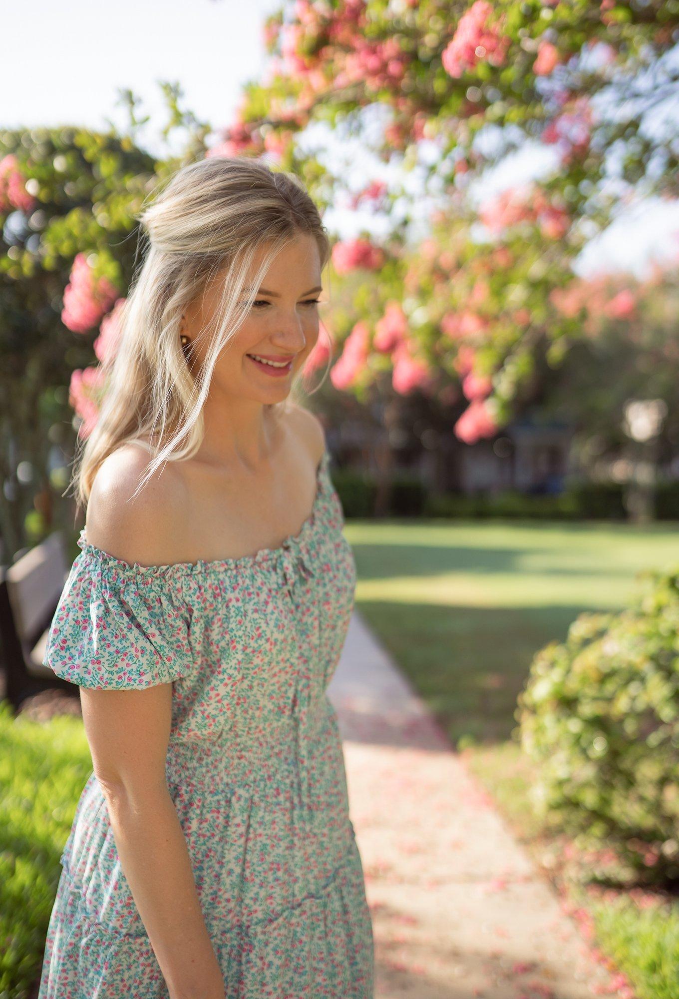 Ashley Brooke in floral smocked dress