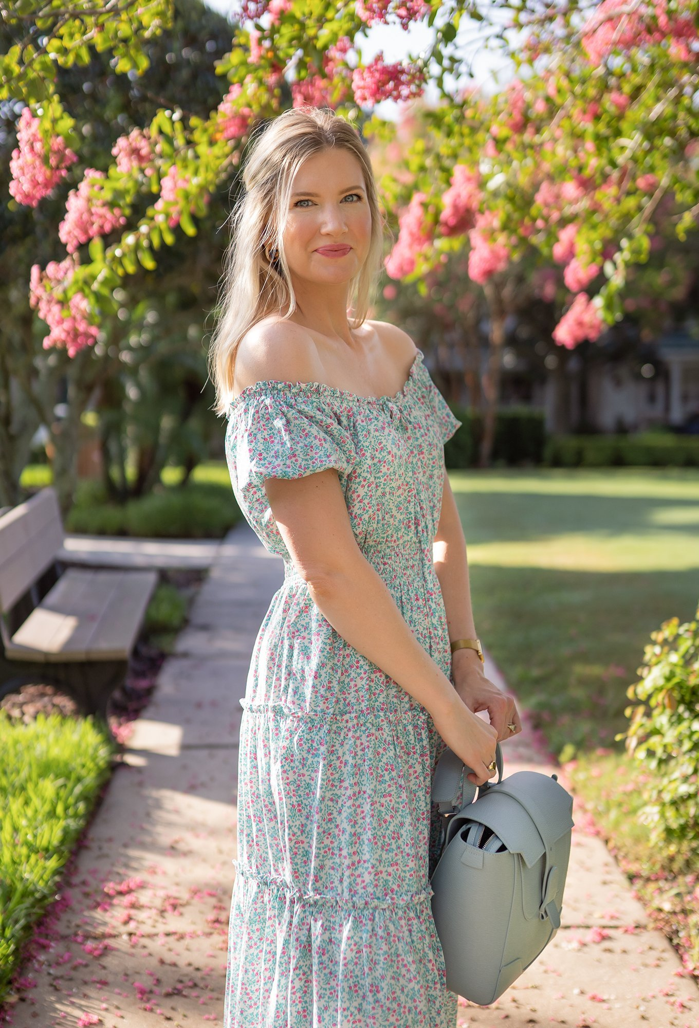 Puff-sleeve midi dress in floral - Ashley Brooke - 9